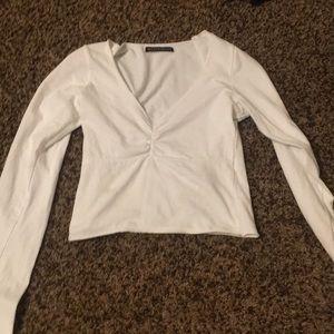 White long sleeve V-neck from Brandy Melville
